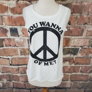 Chaser Tank Top You Wanna Peace Of Me White M NWT